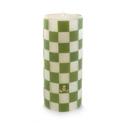 Green Check Pillar Candle - 6""