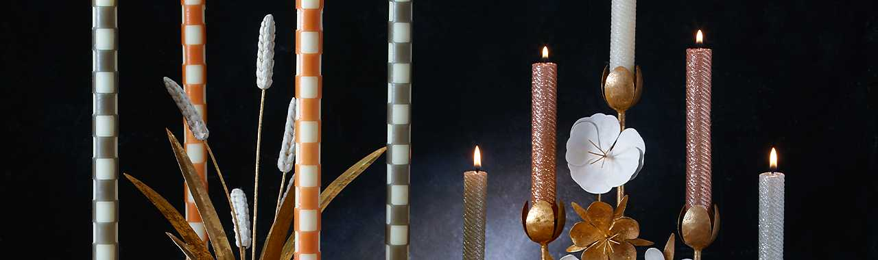 Mini Dinner Candles - Rose Gold, Silver, & Pearl - Set of 6 Banner Image