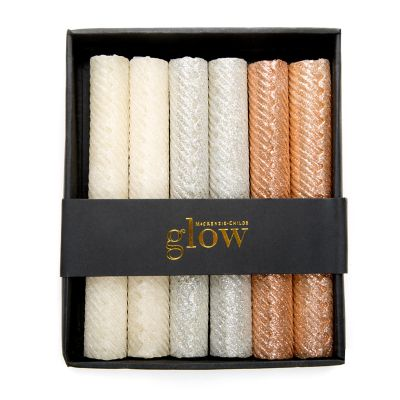 Mini Dinner Candles - Rose Gold, Silver, & Pearl - Set of 6