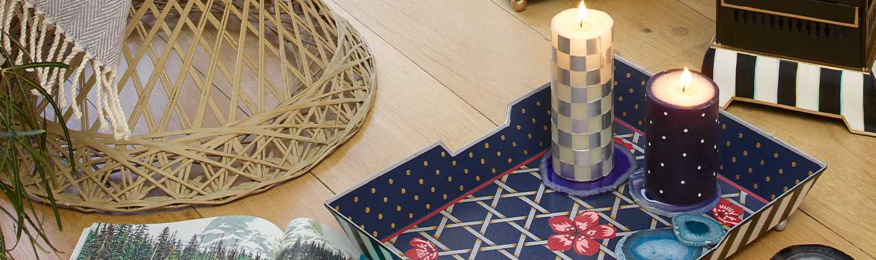 "Sparkle Pillar Candle - 4"" - Navy Banner Image"