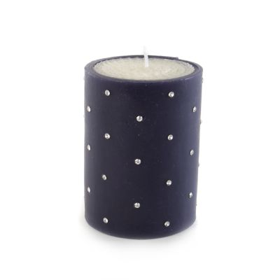 "Small Diamond Pillar Candle - 4"" - Navy"