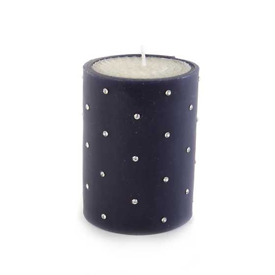 "Sparkle Pillar Candle - 4"" - Navy"