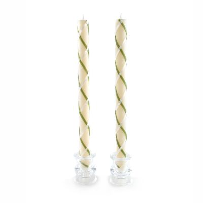Fishnet Dinner Candles - Green & Ivory - Set of 2