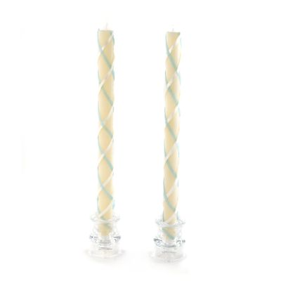 Fishnet Dinner Candles - Blue & Ivory - Set of 2