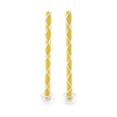 Fishnet Dinner Candles - Yellow & Ivory - Set of 2