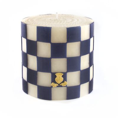 "Check Pillar Candle - 5"" - Navy & Ivory"