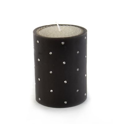 "Small Diamond Pillar Candle - 4"" - Black"
