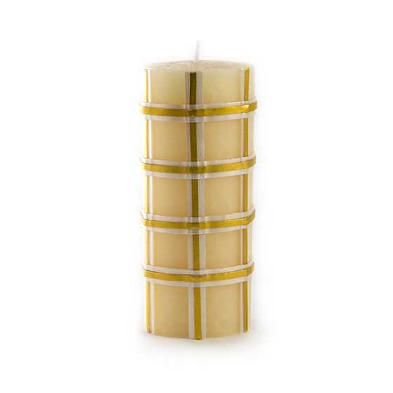 "Tartan Pillar Candle - 6"" - Gold"