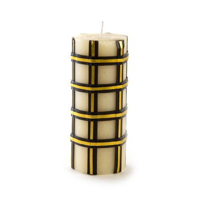 "Tartan Pillar Candle - 6"" - Black & Gold"