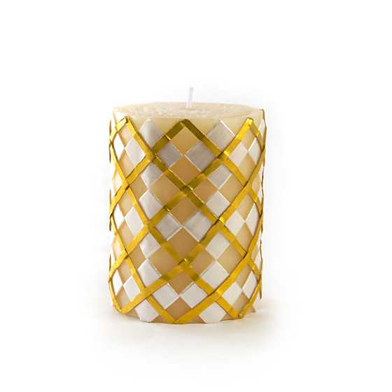 "Argyle Pillar Candle - 4"" - Gold"