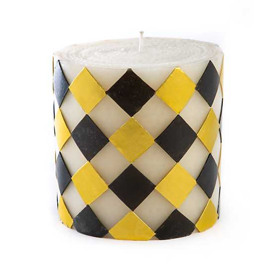 "Harlequin Pillar Candle - 5"" - Black & Gold image two"