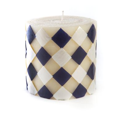 "Harlequin Pillar Candle - 5"" - Navy & Pearl"