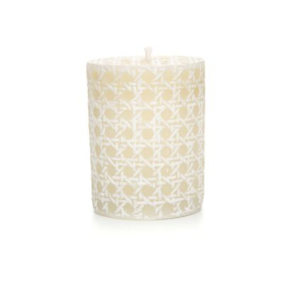 "Image for Rattan Pillar Candle - 4"" - White"