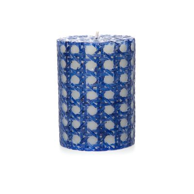 "Rattan Pillar Candle - 4"" - Navy"