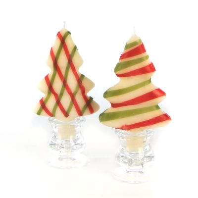 Tree Candle - Red & Green - Set of 2