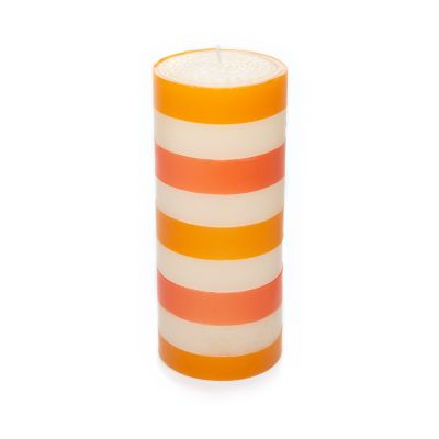 "Multi Band Pillar Candle - 6"" - Orange, Ivory, Red"