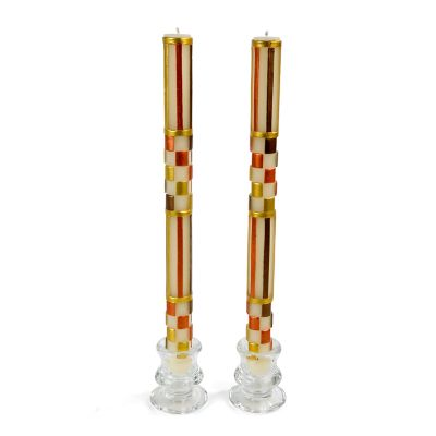 Check & Stripe Dinner Candles - Autumn - Set of 2