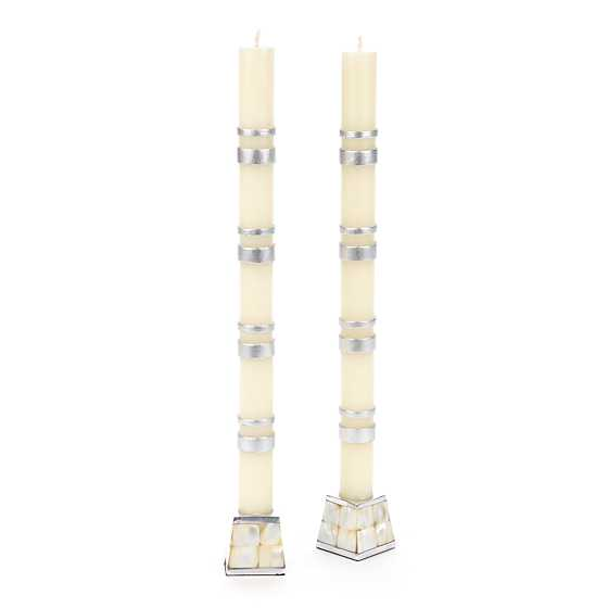 Double Bands Dinner Candles - Silver - Set of 2 image two