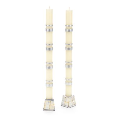 Double Bands Dinner Candles - Silver - Set of 2