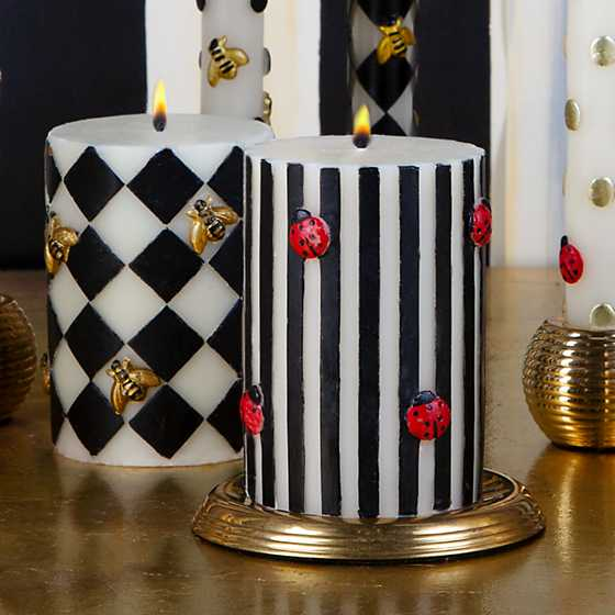 "Bee Pillar Candle - 4"" - Black image four"