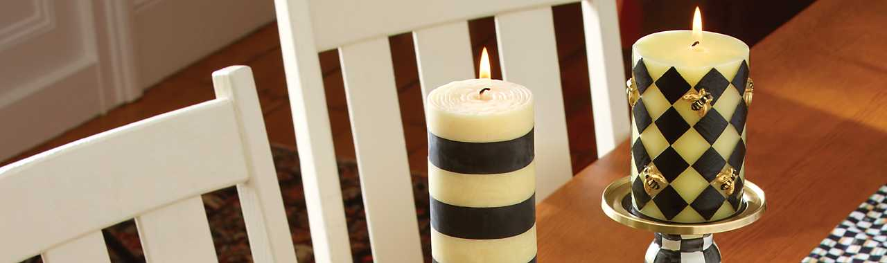 "Bee Pillar Candle - 4"" - Black Banner Image"