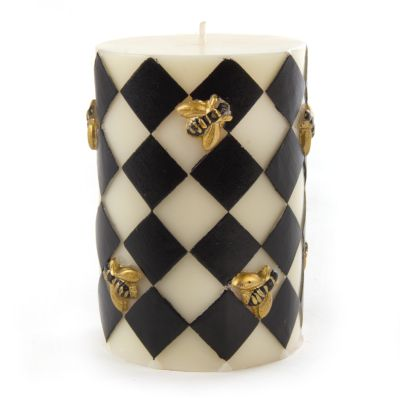 "Bee Pillar Candle - 4"" - Black"