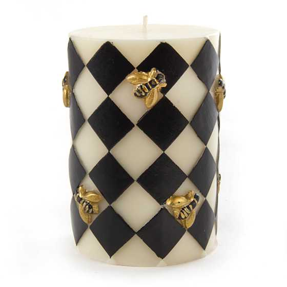 "Bee Pillar Candle - 4"" - Black image one"
