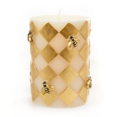 "Harlequin Bee Pillar Candle - 4"" - Gold"