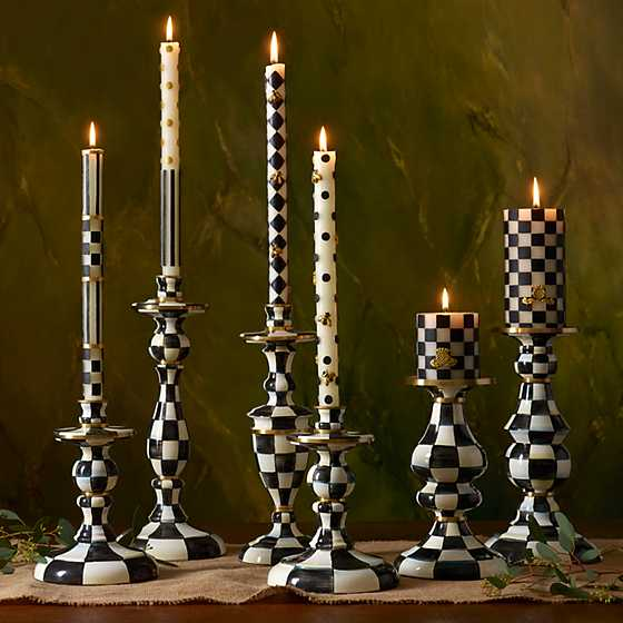 "Check Pillar Candle - 3"" - Black & White image eleven"