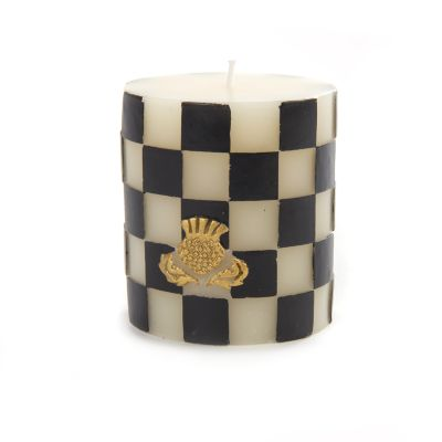 "Check Pillar Candle - 3"" - Black & Ivory"