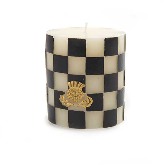 "Check Pillar Candle - 3"" - Black & White"