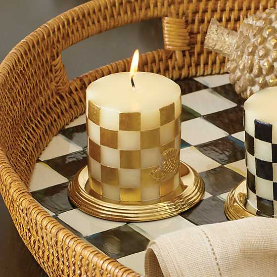 "Checker Pillar Candle - 3"" - Gold image two"