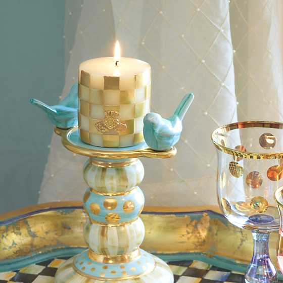 "Checker Pillar Candle - 3"" - Gold image four"
