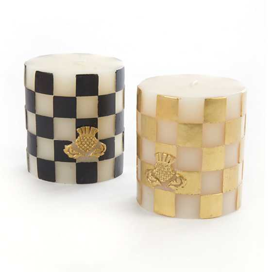 "Checker Pillar Candle - 3"" - Gold image three"