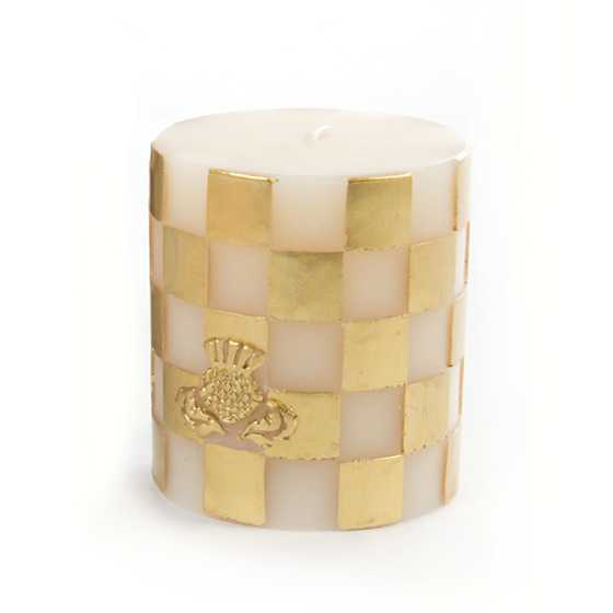 "Check Pillar Candle - 3"" - Gold & Ivory"