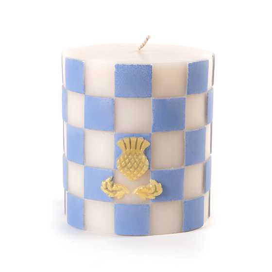 Periwinkle & White Check Pillar Candle