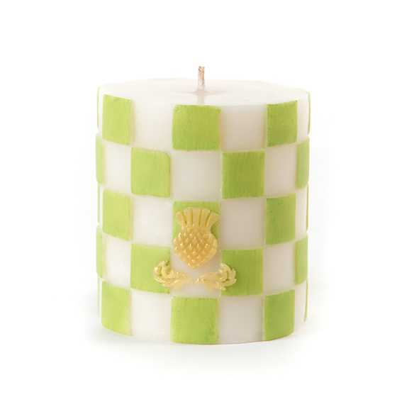 Chartreuse & White Check Pillar Candle