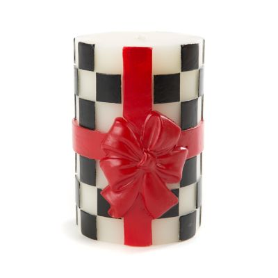 "Bow Pillar Candle - 4"" - Red"