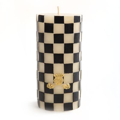 Black & White Check Pillar Candle - 6""