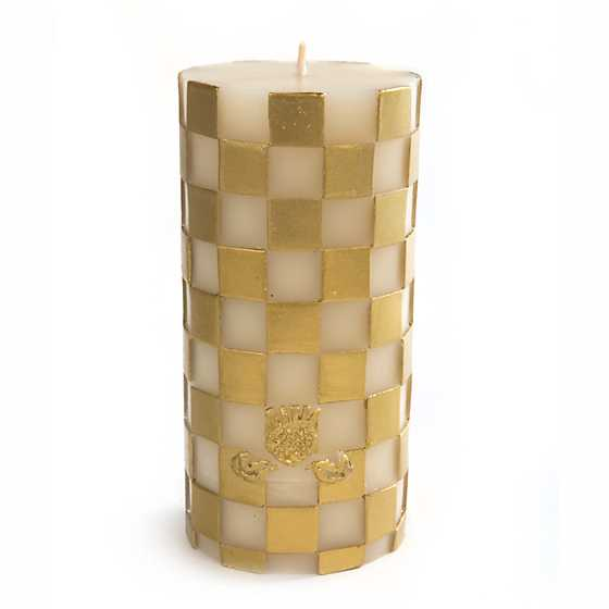"Check Pillar Candle - 6"" - Gold"