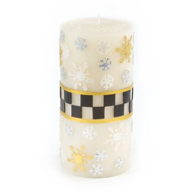 Silver Lining Snowflake Pillar Candle - 6""