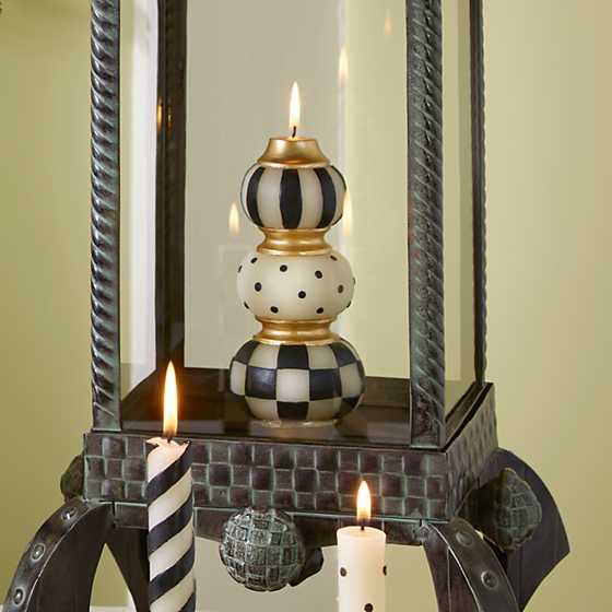 Finial Candle - Black & Ivory image two
