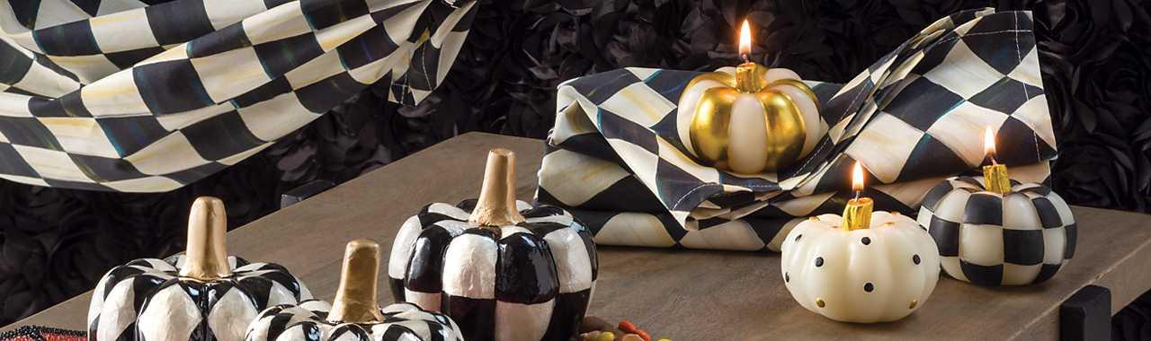 Black /& Gold MacKenzie-Childs Mini Pumpkin Candles Set of 3