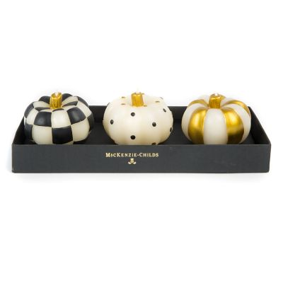 Mini Pumpkin Candles - Black & Gold - Set of 3