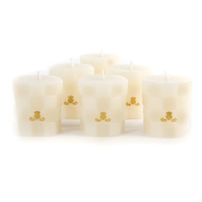 Check Votives - Ivory - Set of 6