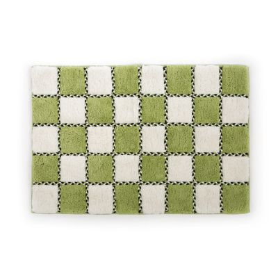 Covent Square Bath Rug - Green & White