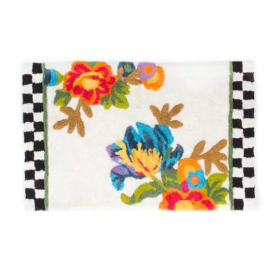 Flower Market Standard Bath Rug -White image one