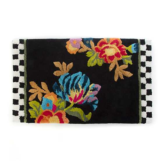 Flower Market Standard Bath Rug - Black
