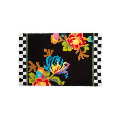 Flower Market Large Bath Rug - Black