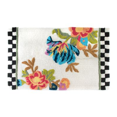 Flower Market Large Bath Rug - White